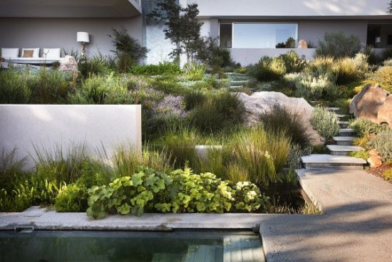Bridle Road Residence in Cape Town, South Africa. Landscape designed by Rees Roberts & Partners in New York City.