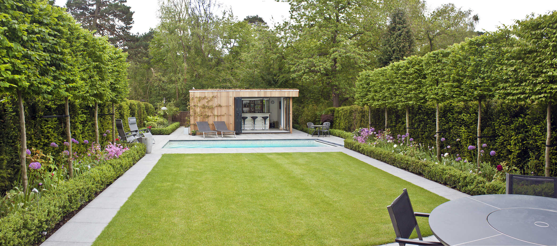 Pleached Hornbeams used in contemporary landscape