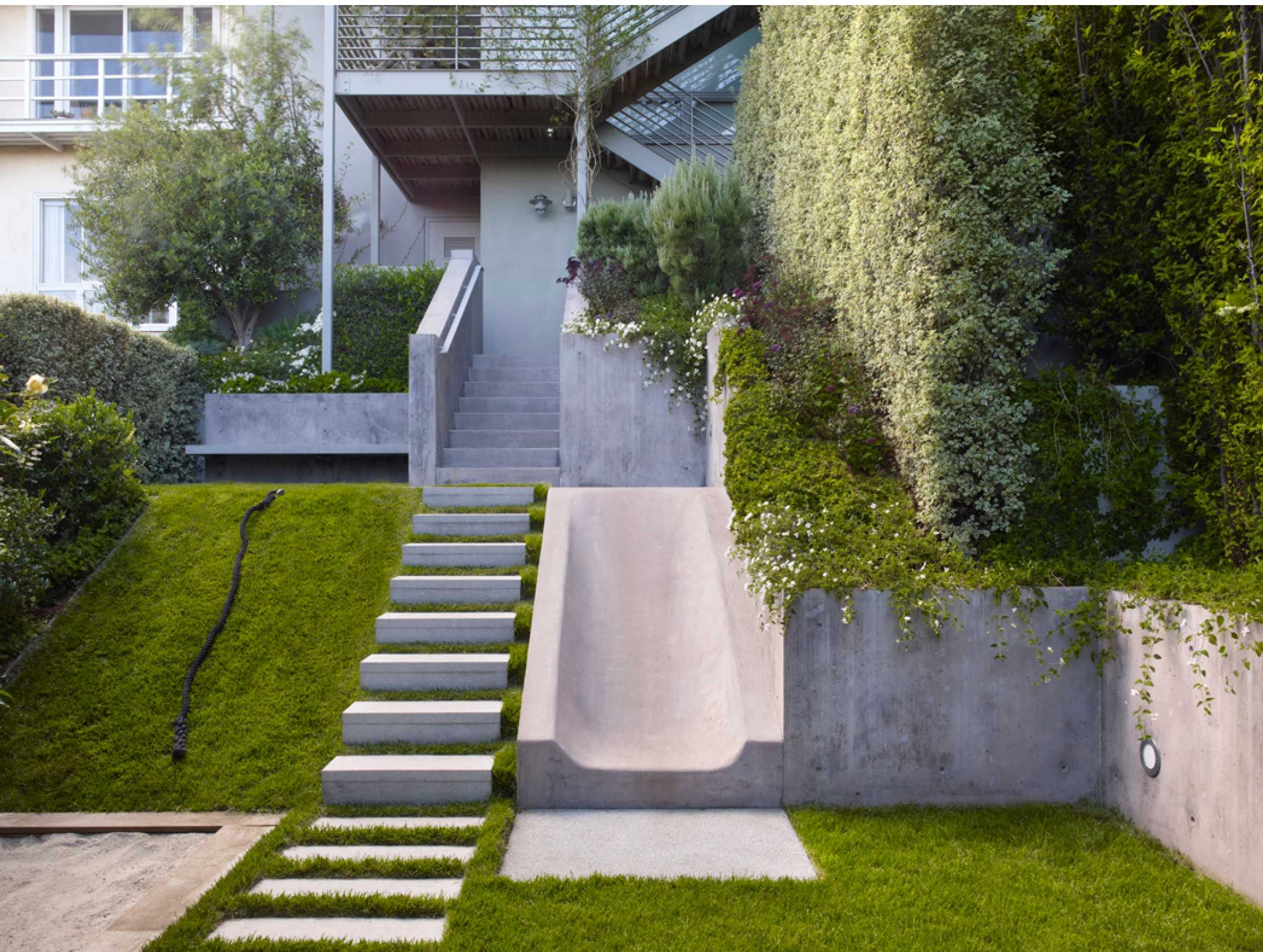 Grade Change Ideas - Steps and Concrete Slide - Landscape Step ideas