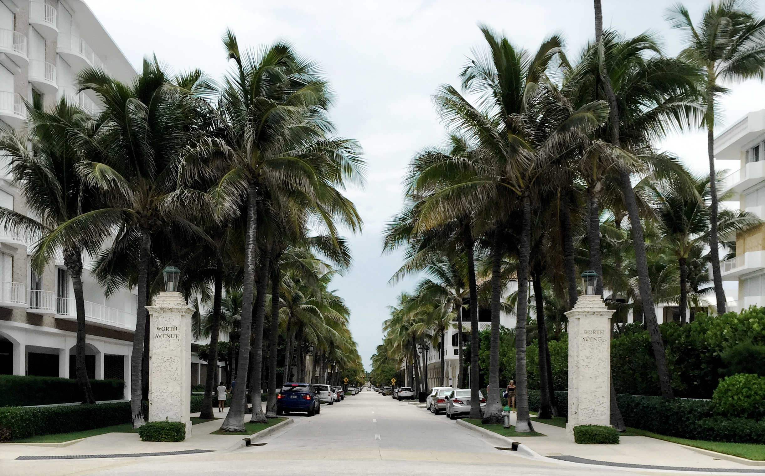 Worth Avenue - Entrance - Palm Trees and Limestone Columns - Luxury Shopping