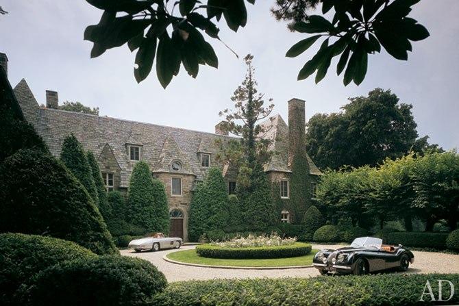 Ralph Lauren Bedford Estate - Architectural Digest - Front Landscape - seasonal color
