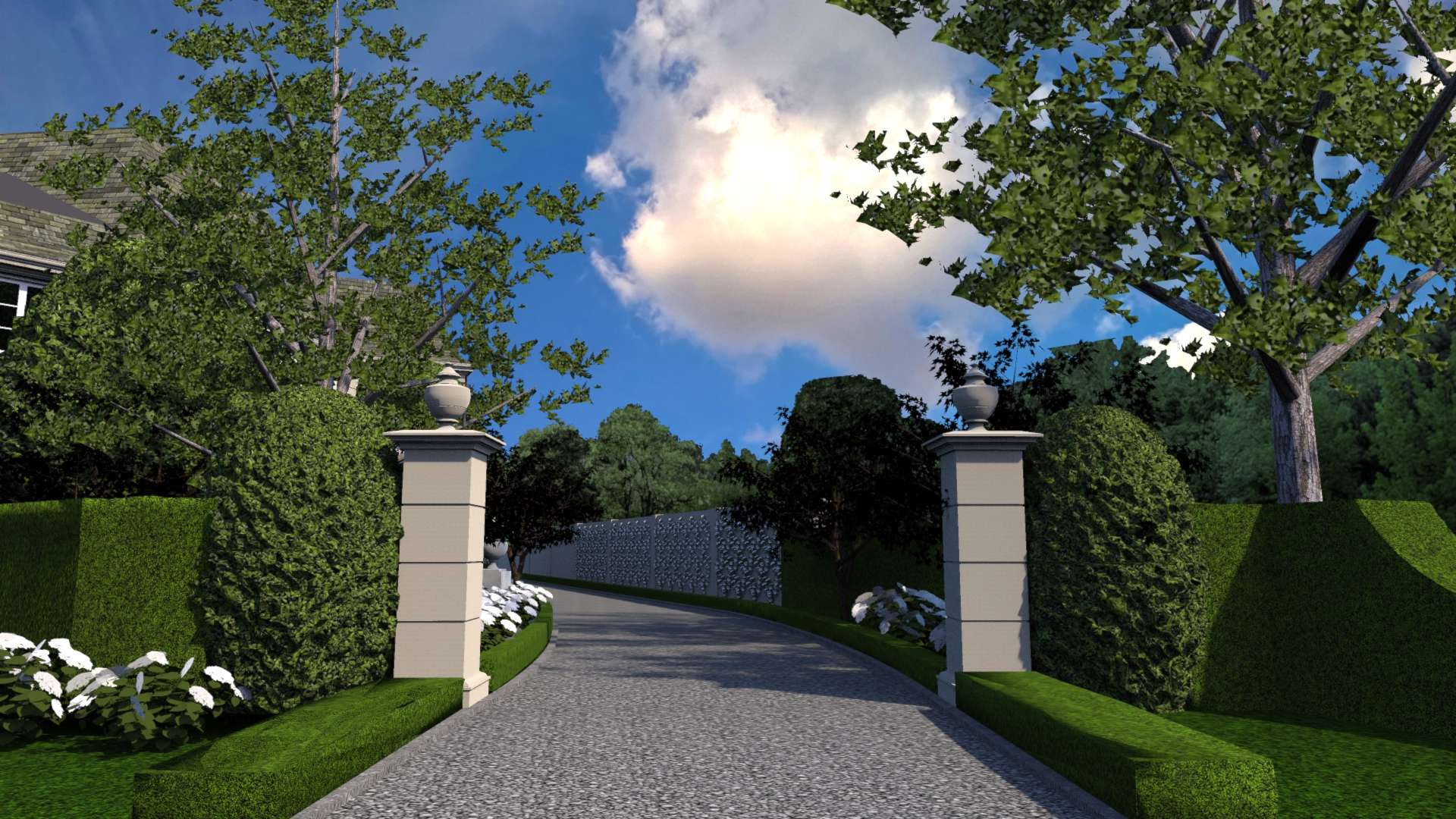 Indiana limestone columns support ornamental iron gates that provide seperation and privacy between the public driveway and private motor court and garage. The columns are topped with antique stone urn finials.