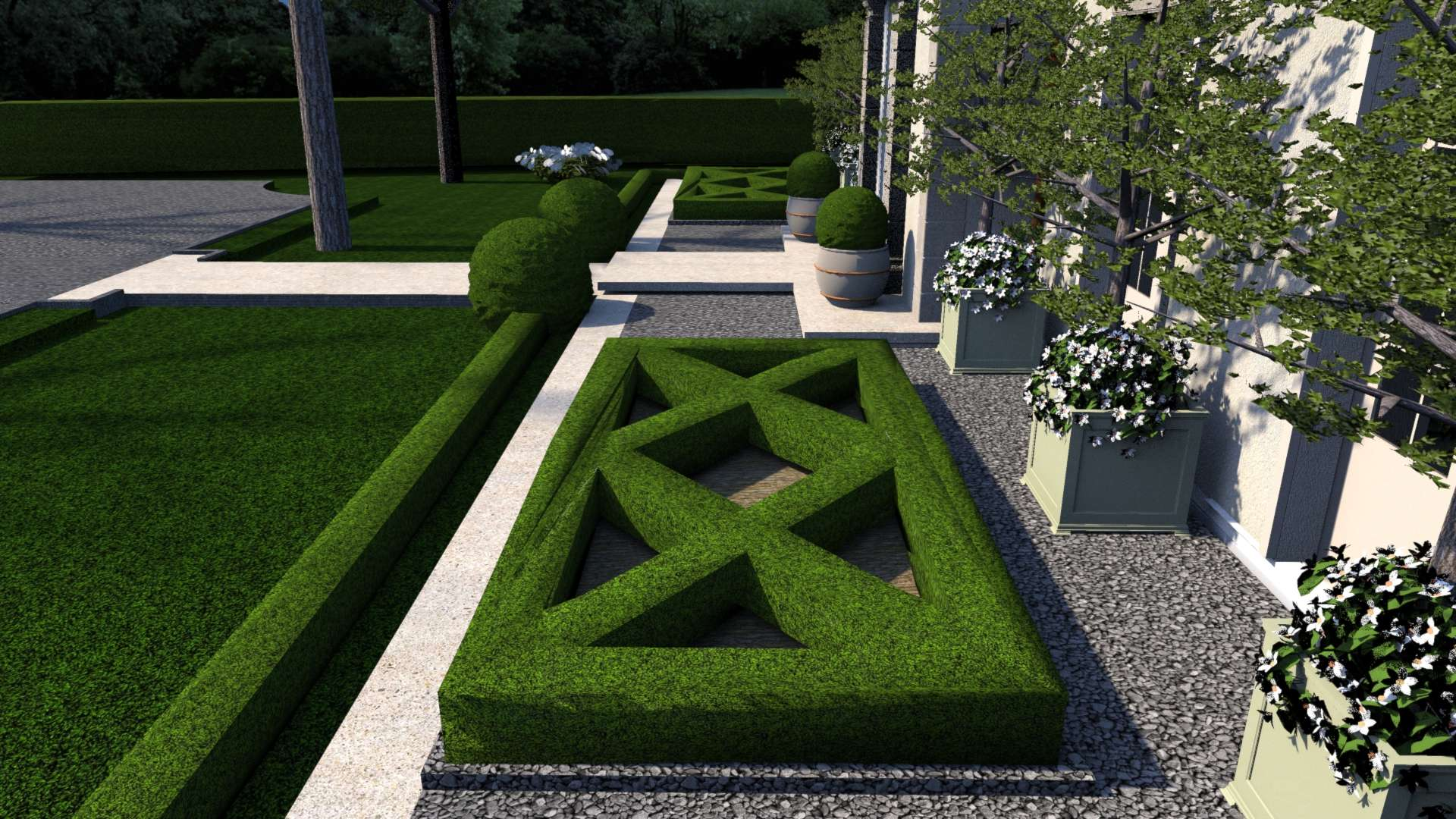 A boxwood parterre garden flanks each side of the entry to bring symmetry to the front of the house.