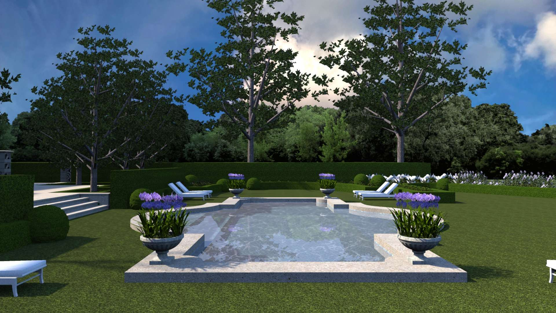 Formal french-inspireid pool with Longshadow planters planted with agapanthus