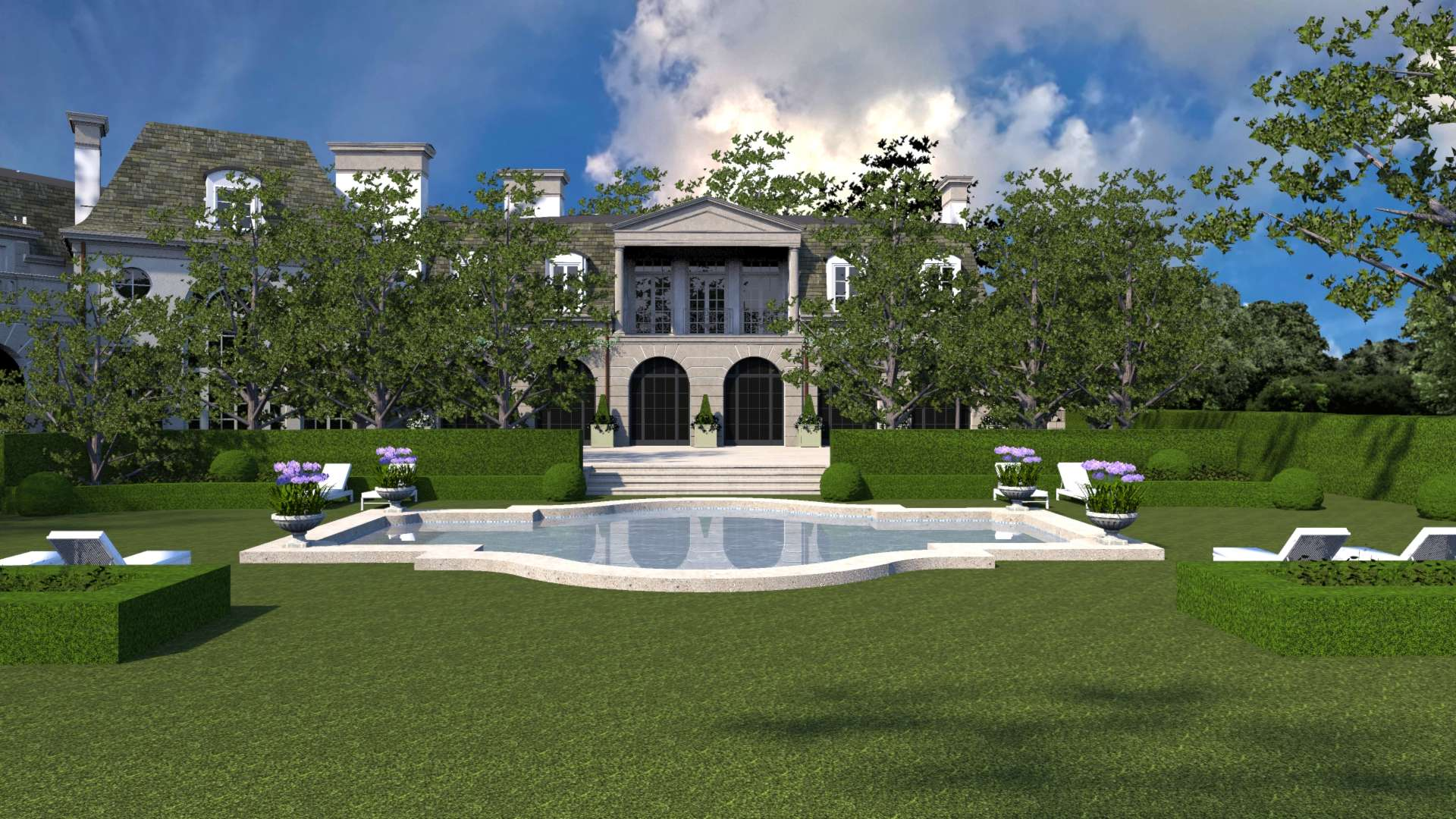 The swimming pool sits in the lawn area encompassed by holly and boxwood hedges.