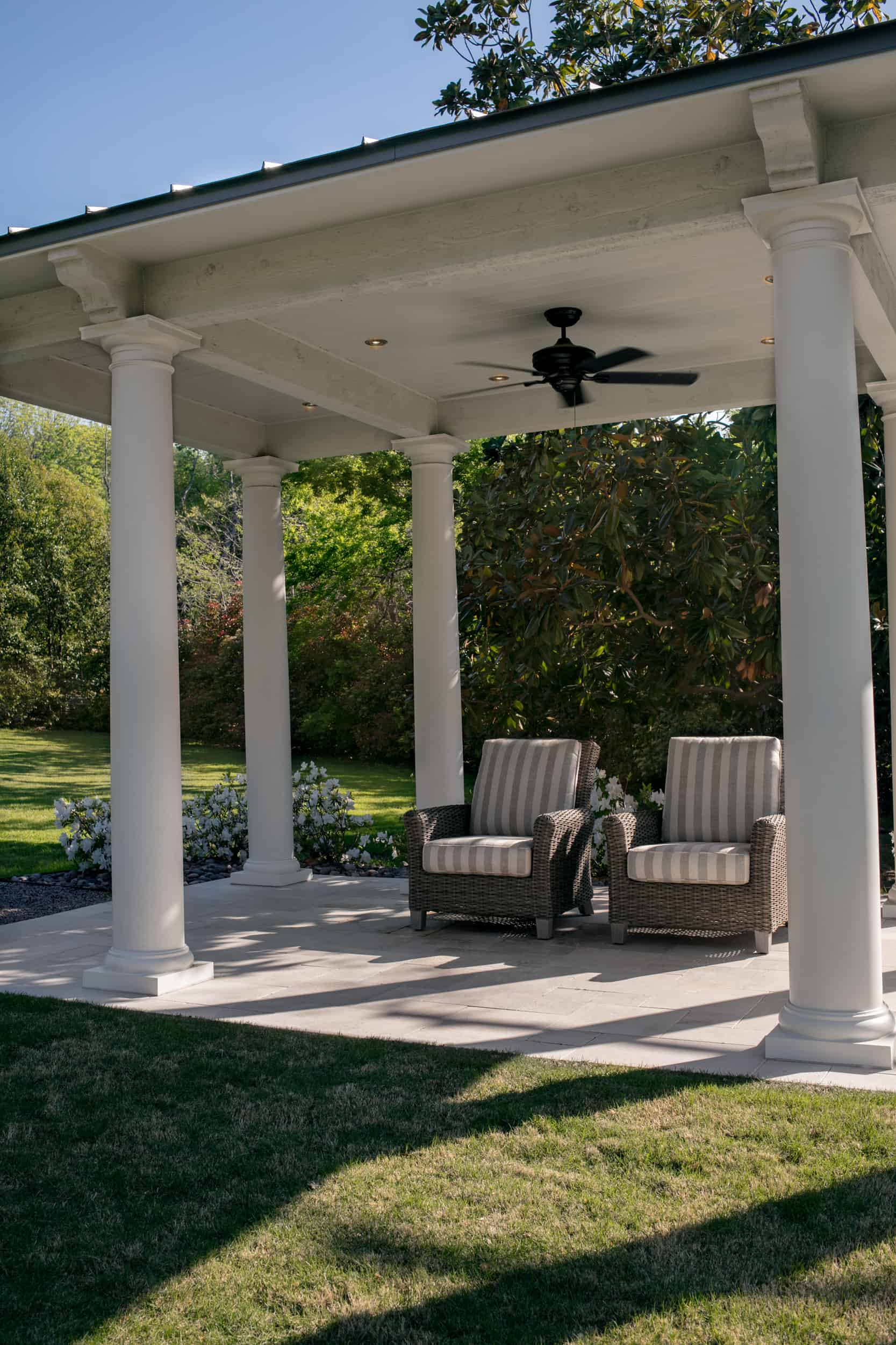 The Great Lawn pavilion includes wireless controlled integrated LED lighting, ceiling fan, and outdoor cushioned chairs. The chairs are covered in Sunbrella fabric to prevent fading.