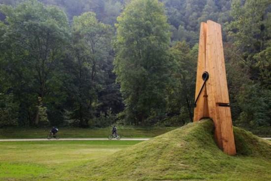 Clothes Pin Sculpture at Five Seasons Park in Belgium