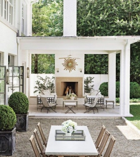 all white outdoor dining