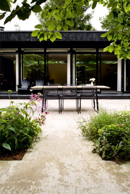 7. outdoor dining - wood table with modern chairs