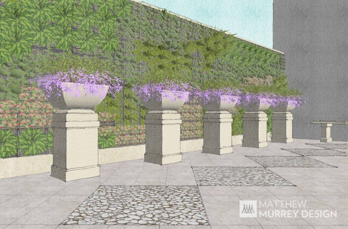 Vertical Planter Wall with Cast Stone Pottery