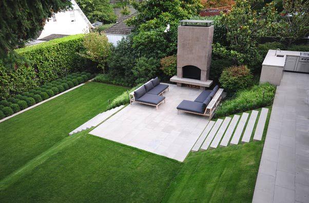 Landscape ideas - grade change - garden steps - concrete with grass