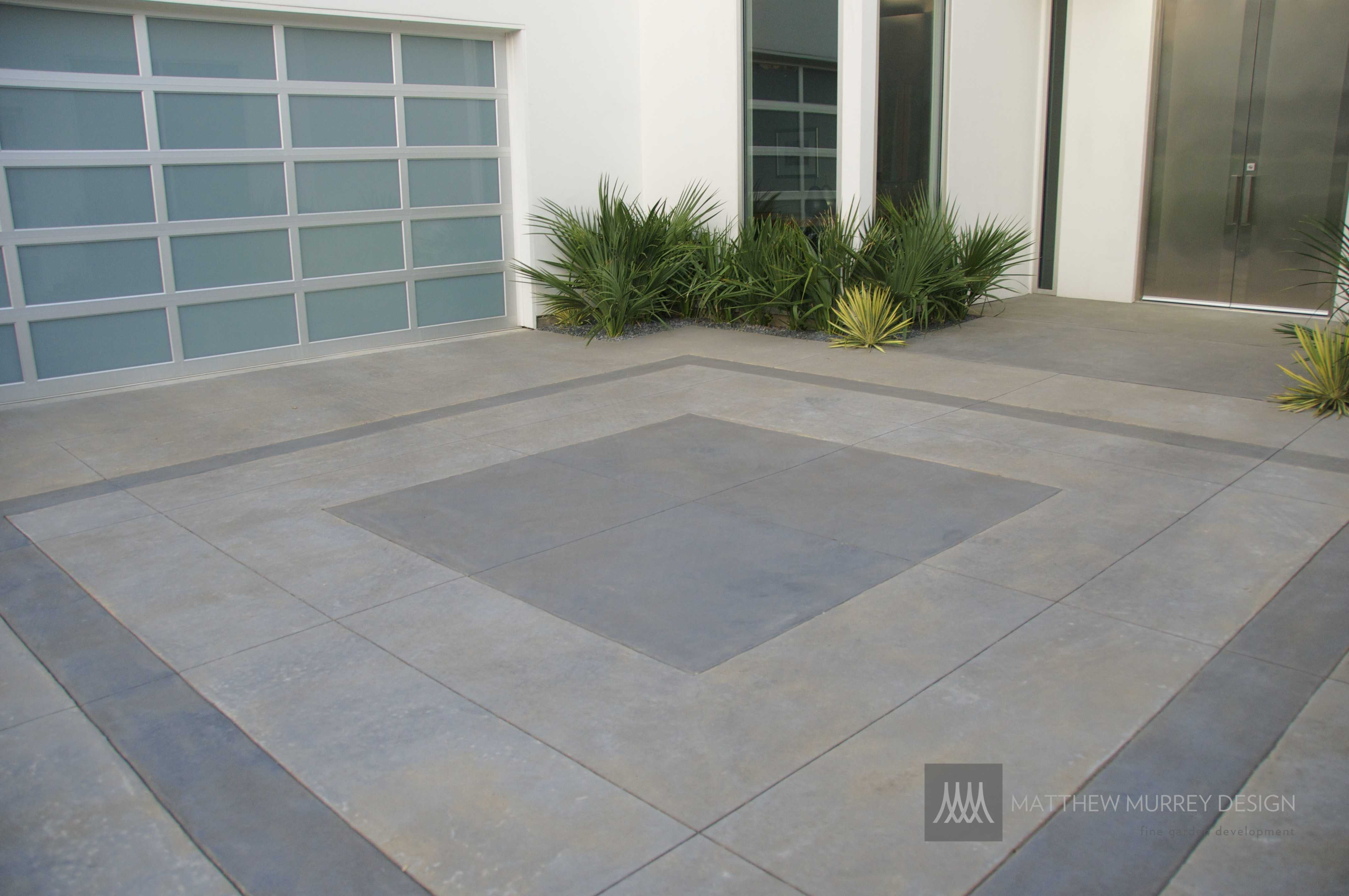 Contemporary Patterned Concrete Driveway