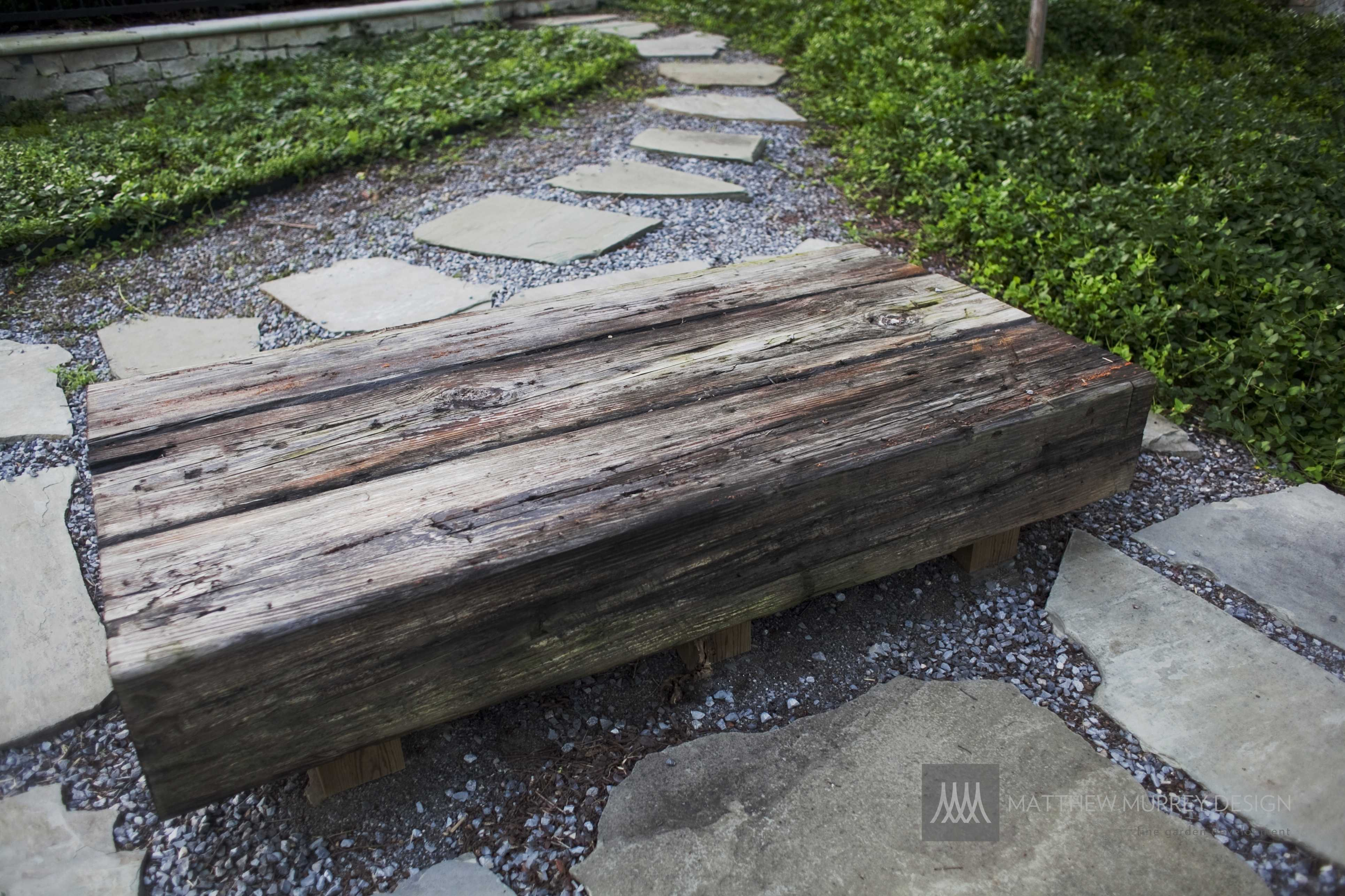 Bench made from railroad ties